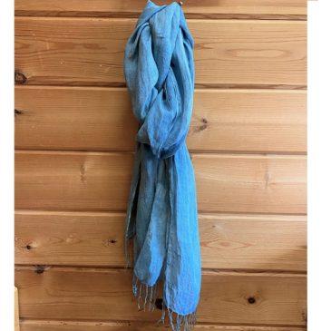 生葉藍染め麻スカーフ